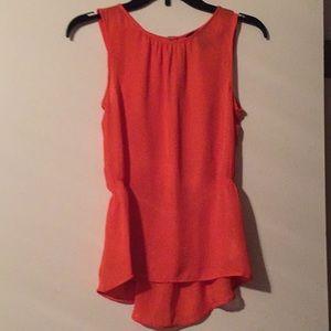 H&M Orange Sheer Blouse